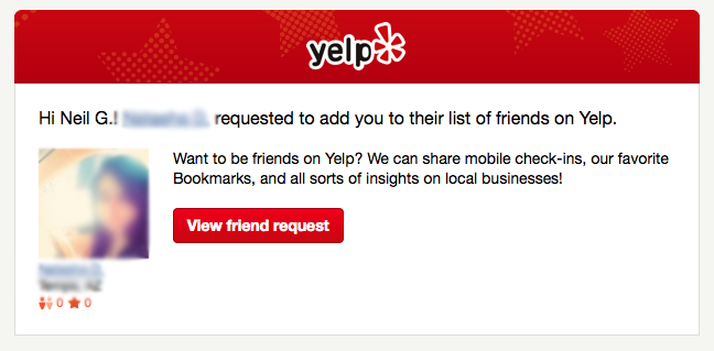 Yelp Friend Notification